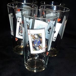 Card Play Glasses, Drinking Glasses, Set of 4